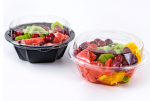 American Style Disposable Round Black PP Plastic Food Box with Clear Lid