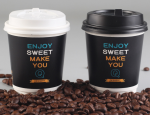 Custom logo printed disposable paper coffee cups 12oz